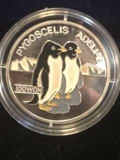 1995 DPRK North Korea 100 WON Pygoscelis Adeliae Penguins Pure Silver Proof-Struck Large Crown Coin. Rare.
