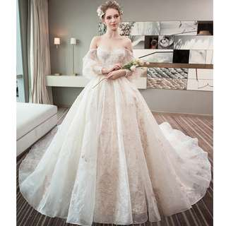 Wedding Collection - Fantasy Champagne Bubble Sleeves Off Shoulder Design Long Tail Wedding Gown