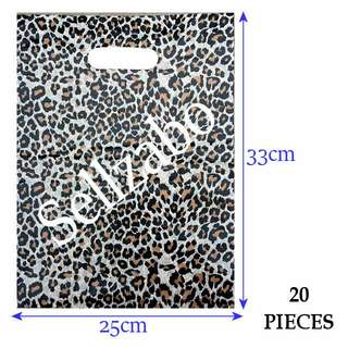 #B Leopard Carrier Plastic Bags 20 Pcs : Handles Type Put Clothes Clothings Boutiques Storage Store Sell Sellers Selling Stationery Stationeries Brown Colour Sellzabo About 33cm x 25cm