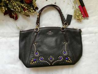 Coach F59348 Leather Small Kelsey Satchel Studded Border Embellishment Black