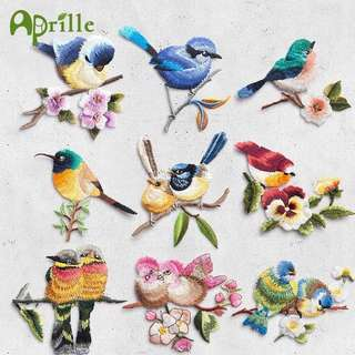 Embroidered Birds with Flower Patches Embroidery Iron On Badges For Clothes Dresses DIY Accessory DIY Applique Clothing Stickers