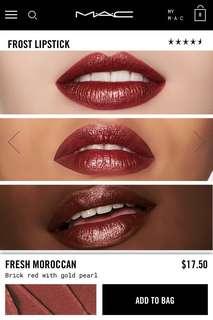BNIB MAC Frost Lipstick 100% authentic in Fresh Moroccan