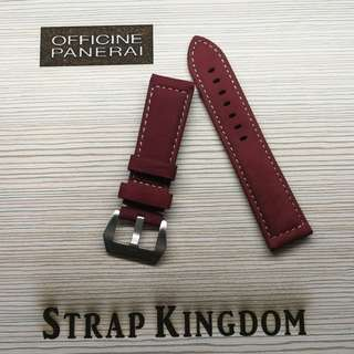 PANERAI - 24mm 麂皮酒紅色 C141 代用錶帶(PAM,APPLE WATCH合用)