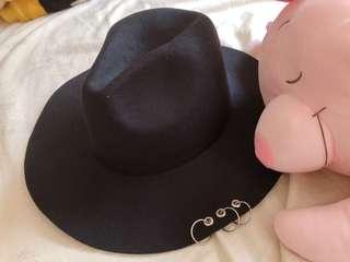 🚚 女性流行紳士帽 黑帽 暗黑系著用款 全新