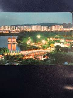 Clearing Stocks: Singapore Night Scene of Chinese Garden Postcard, New