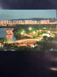 Clearing Stocks: Singapore Night Scene of Chinese Garden Postcard, New