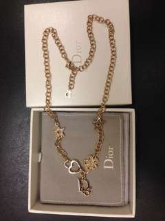 100% New and Authentic Dior Gold-tone Crystal Necklace 全新淺金色閃石吊咀頸鍊