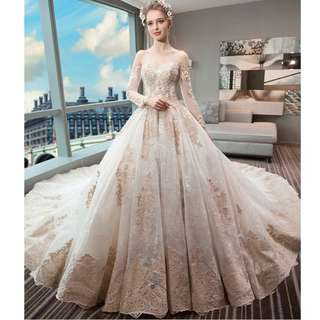 Wedding Collection - Royal Style Luxury Off Shoulder Long Sleeves Embroidered Long Tail Wedding Gown