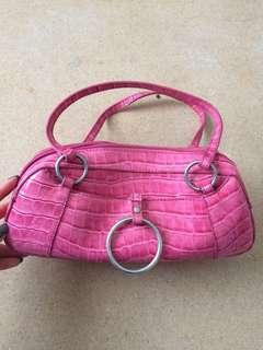 Pink faux crocodile bag