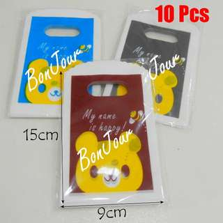 Small Bears Carrier Plastic Bags 10 Pcs : Handles Put Accessories Items Stuff Storage Store Sell Sellers Selling Stationery Stationeries Mix Colour Sellzabo About 15cm x 9cm