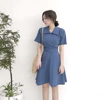 GL557-港味复古chc中长款纯色绑带高腰女裙夏季新款翻领短袖A字连衣裙女