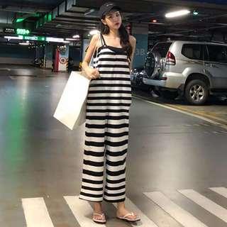 夏季新品韓版女裝簡約慵懶風吊帶背心字母印花背帶連體闊腿長褲潮