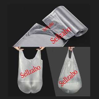 Singlet Type Trash Bags : 15 Pcs : Handles : Plastic : Tear Off Roll : Throw : Rubbish : Bins : Disposable : Store : Storage : Sell : Sellers : Selling : Home : Office : Use : Stationery : Stationeries : Silver Colour : About 50cm x 45cm : Sellzabo