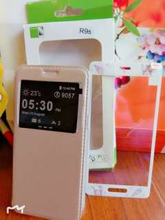 🚚 Oppo R9s 金色皮套 +貼膜 九成新盒子有壓到