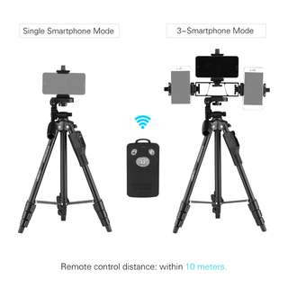 🚚 [Original]YUNTENG VCT-6808 Multi-functional Tripod for Phone with 3 Phone Holders Portable Aluminum Alloy 4-Section Telescoping Tripod with 3-Way Damp