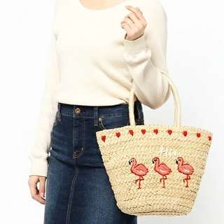 [Reduce price] Flamingo Beach Woven Bag Ready Stock