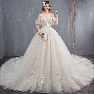 Wedding Collection - Unique Short Lace Sleeves Off Shoulder Long Tail Wedding Gown