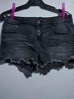 TEX Black Washed Denim Shorts