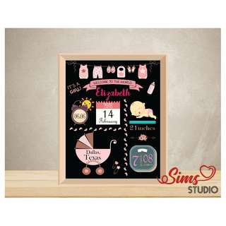 🚚 Personalized Birth Stats Chalkboard, New Born Baby Girl, Birth Announcement Printable, Baby Full Moon Party Printable, Baby Shower Party