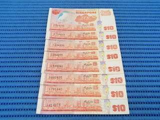 Singapore Bird Series $10 Ten Dollars Note Dollar Banknote Currency ( Random Number. Price Per Piece )