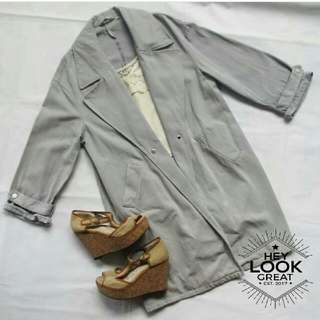 Blue Gray Kstyle / Ulzzang Long Coat