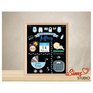 🚚 Personalized Birth Stats Chalkboard, New Born Baby Boy, Birth Announcement Printable, Baby Full Moon Party Printable, Baby Shower Party