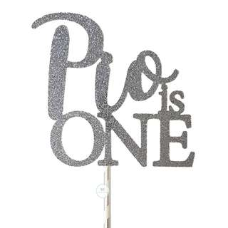 Glitter Silver Grey Customize Cake topper Birthday Party Decoration