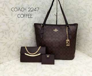 Coach Tote Bag 3 in 1 Coffee Color