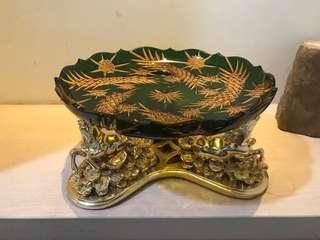 🚚 Lotus 水晶玻璃 金馬托盤