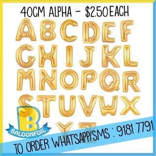 Baloon alphabets foil