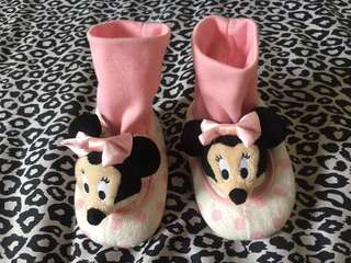 Orig Disney baby booties shoes with rattle sounds