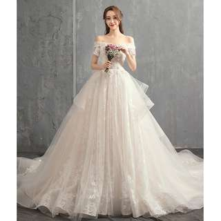 Wedding Collection - Elegant T-Off Shoulder Design Long Tail Wedding Gown