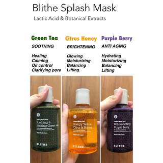 Blithe Splash Mask (greentea/purple berry/citrus honey) original 100%