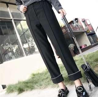 🚚 氣質黑色滾邊寬褲