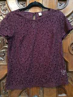 Maroon lace top from Old Navy
