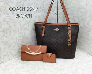 Coach Tote Bags 3 in 1 Brown Color