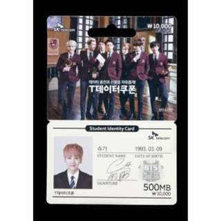 ONHAND  BTS x SK Telecom Data Coupon Identity Card SUGA