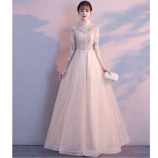 Gown Collection - Noble Champagne High Collar Long Sleeves A Lining Gown