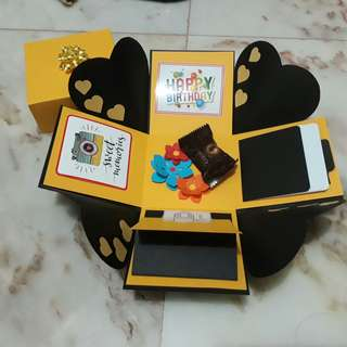 Explosion Box - black & golden yellow, for birthday, anniversary