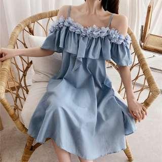 一字吊帶連衣裙女荷葉邊連衣裙