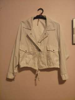 White Collared Thin Bomber
