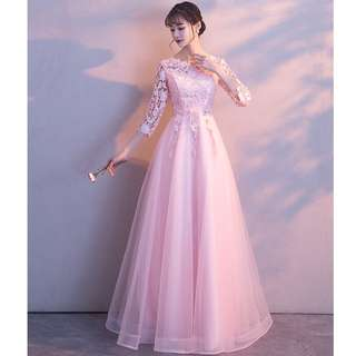 Gown Collection - Soft Light Pink Lace Mid Length Sleeves Gown