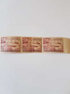 1949 Malaya Singapore 10 cents unused stamps