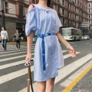 預購S6535韓版學院風 拼接撞色連衣裙