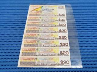Singapore Bird Series $20 Twenty Dollars Note Dollar Banknote Currency ( Random Number. Price Per Piece )