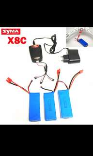 Drone battery not mavic air Syma X8 X8A X8C X8C/W X8C-1 X8W 7.4v 2000mah spare parts LiPo battery + 7.4V Multi-Charger