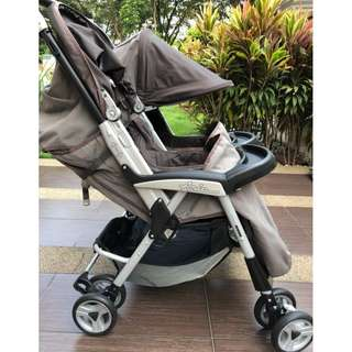 Peg Perego Aria Twin Light Weight One Hand Fold Stroller in Moka