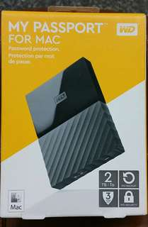 WD 2TB for mac my passport external hard drive