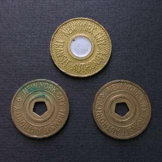 美國紐約市 地鐵舊代幣三個