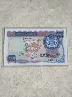 SINGAPORE $100 ORCHID LKS A/2 300413 XF/XF+